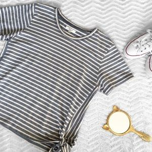 Madewell Striped Top with Side Ties Blue and Cream